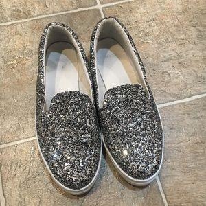 Glitter silver sparkle slip on tennis ASOS 39 8.5